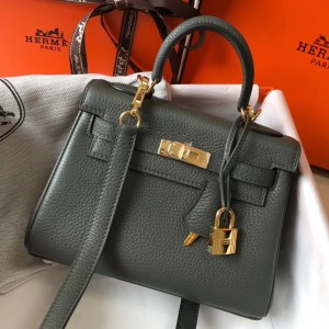 Hermes Mini Kelly 20cm Bag In Canopee Clemence Leather