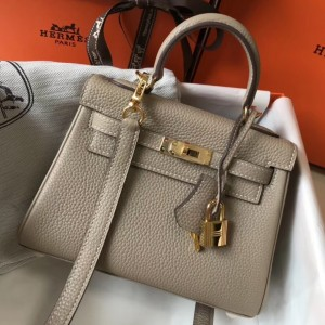 Hermes Mini Kelly 20cm Bag In Grey Clemence Leather