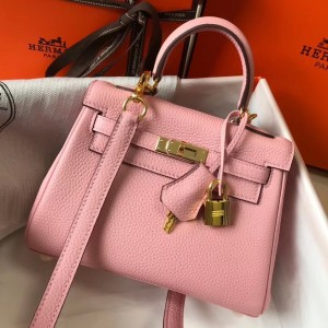 Hermes Mini Kelly 20cm Bag In Pink Clemence Leather