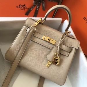 Hermes Mini Kelly 20cm Bag In Beige Clemence Leather