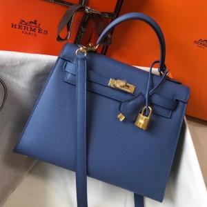 Hermes Kelly 25cm Sellier Bag In Agate Blue Epsom Leather