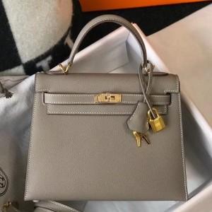 Hermes Gris Asphalt Epsom Kelly 25cm Sellier Bag GHW