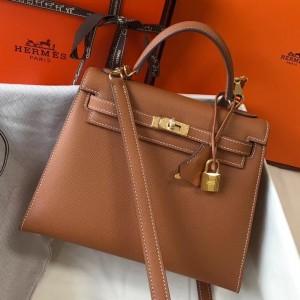 Hermes Kelly 25cm Sellier Bag In Gold Epsom Leather