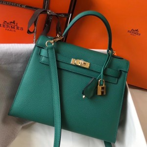 Hermes Kelly 25cm Sellier Bag In Malachite Epsom Leather