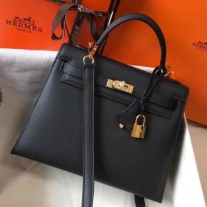 Hermes Kelly 25cm Sellier Bag In Black Epsom Leather