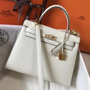 Hermes Kelly 25cm Sellier Bag In White Epsom Leather
