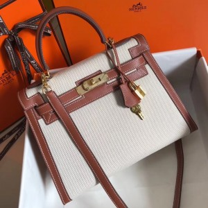 Hermes Kelly 28cm Sellier Bag In Canvas With Barenia Leather