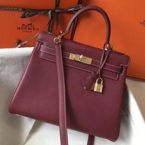Hermes Bordeaux Clemence Kelly 28cm Bag