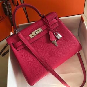 Hermes Rose Red Clemence Kelly 28cm Bag