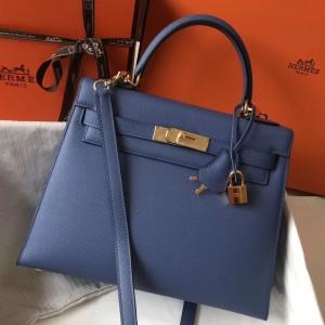 Hermes Kelly 28cm Sellier Bag In Blue Agate Epsom Leather