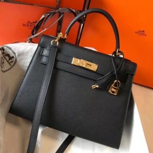 Hermes Kelly 28cm Sellier Bag In Black Epsom Leather