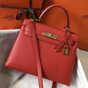 Hermes Kelly 28cm Sellier Bag In Red Epsom Leather