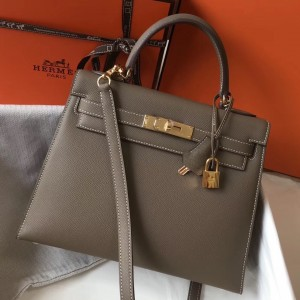 Hermes Kelly 28cm Sellier Bag In Taupe Epsom Leather