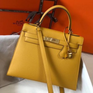 Hermes Kelly 28cm Sellier Bag In Yellow Epsom Leather