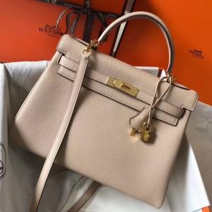 Hermes Kelly 32cm Retourne Bag In Argile Clemence Leather