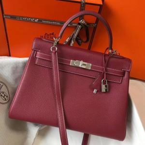 Hermes Bordeaux Clemence Kelly 32cm Retourne Bag