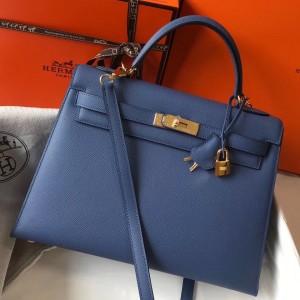 Hermes Blue Agate Epsom Kelly 32cm Sellier Bag