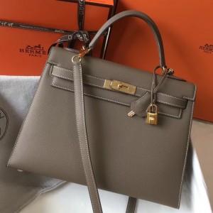 Hermes Taupe Epsom Kelly 32cm Sellier Bag