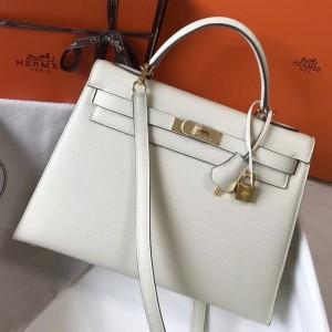 Hermes White Epsom Kelly 32cm Sellier Bag