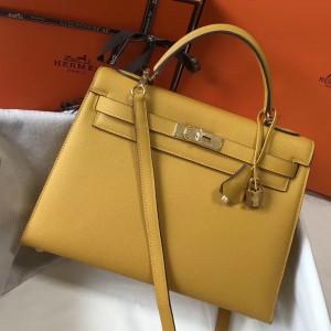 Hermes Yellow Epsom Kelly 32cm Sellier Bag