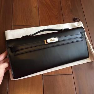 Hermes Black Box Kelly Cut Handmade Bag