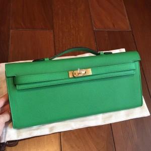 Hermes Bambou Epsom Kelly Cut Handmade Bag
