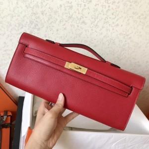 Hermes Red Epsom Kelly Cut Handmade Bag