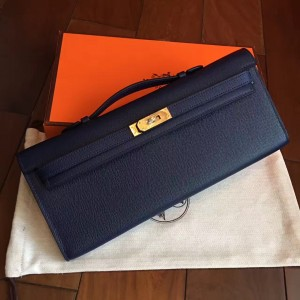 Hermes Sapphire Epsom Kelly Cut Handmade Bag