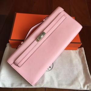 Hermes Pink Swift Kelly Cut Handmade Bag