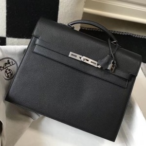 Hermes Kelly Depeche 34 Briefcase In Black Calfskin