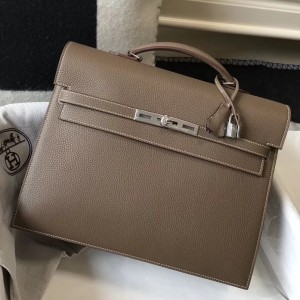 Hermes Kelly Depeche 34 Briefcase In Taupe Calfskin