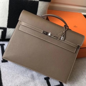 Hermes Kelly Depeche 38 Briefcase In Taupe Calfskin