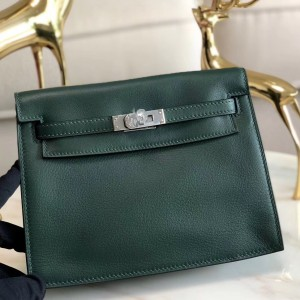 Hermes Dark Green Swift Kelly Danse Bag