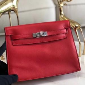 Hermes Red Swift Kelly Danse Bag
