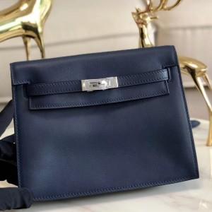 Hermes Blue Royale Swift Kelly Danse Bag