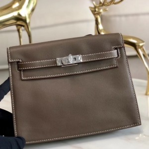 Hermes Taupe Swift Kelly Danse Bag