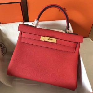 Hermes Rouge Casaque Clemence Kelly 28cm Handmade Bag