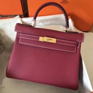 Hermes Ruby Clemence Kelly 28cm Handmade Bag