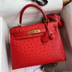 Hermes Red Ostrich Kelly 28cm Handmade Bag