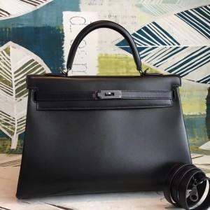 Hermes All Black Box Kelly 35cm Handmade Bag