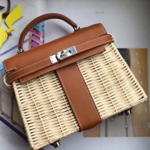 Hermes Brown Picnic Kelly Mini 20cm Wicker Bag
