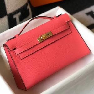 Hermes Kelly Pochette Bag In Rose Lipstick Epsom Leather