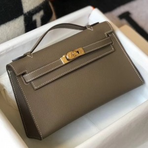 Hermes Kelly Pochette Bag In Taupe Grey Epsom Leather