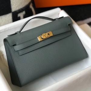 Hermes Kelly Pochette Bag In Vert Amande Epsom Leather