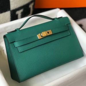 Hermes Kelly Pochette Bag In Vert Veronese Epsom Leather