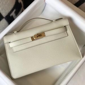 Hermes Kelly Pochette Bag In White Epsom Leather