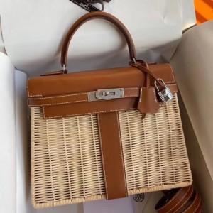 Hermes Brown Picnic Kelly 28cm Wicker Bag