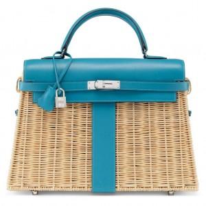 Hermes Blue Picnic Kelly 35cm Wicker Bag