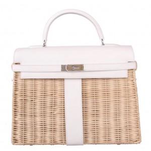 Hermes White Picnic Kelly 35cm Wicker Bag