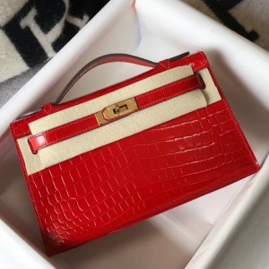 Hermes Kelly Pochette Bag In Red Embossed Crocodile Leather